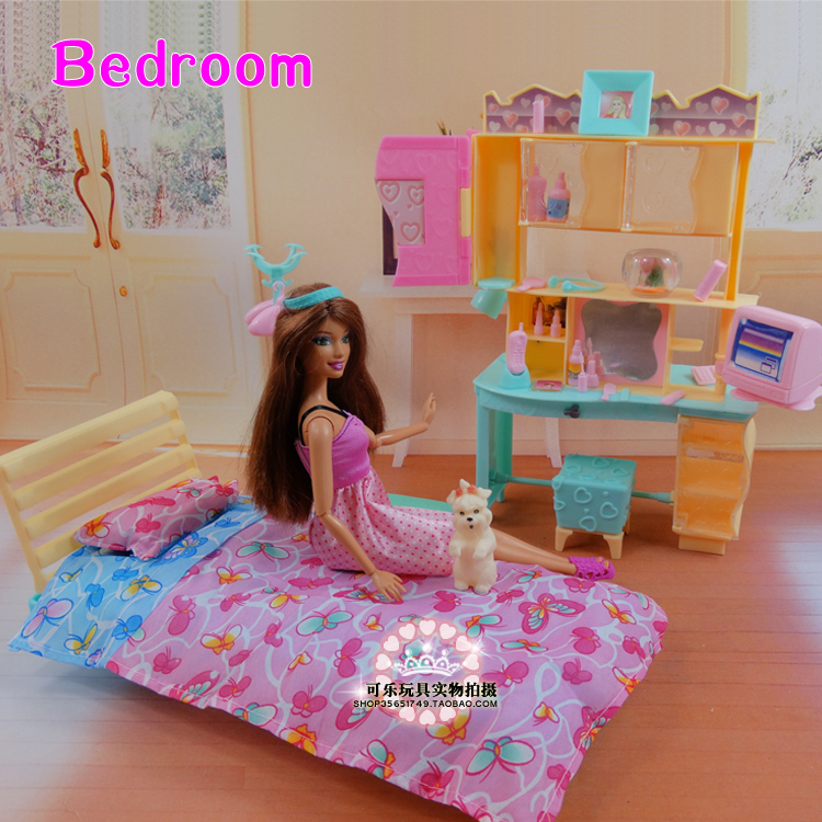 New Design Doll Bed Cabinet Set / Dollhouse Bedroom Furniture DIY Accessories For barbie Kurhn Doll Pretend Play Toy Girl Gift(China (Mainland))