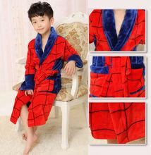 4 Kinds Cotton Children Bathrobes Children's Spiderman robe Baby Homewear Boys Fleece Robe For girls Cartoon Bathrobe Kids Gift
