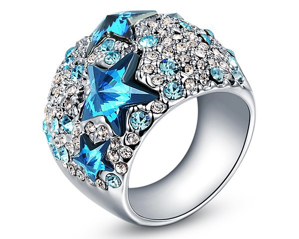 Blue Star Shaped Crystal Ring Made With Genuine Swarovski Elements Engagement Brand Jewelry Gift For Wedding Women Rings RJZ0023