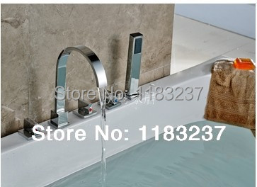 High quality copper split tetragonal massage bathtub set with small shower hot and cold faucet Bath & Shower Faucets