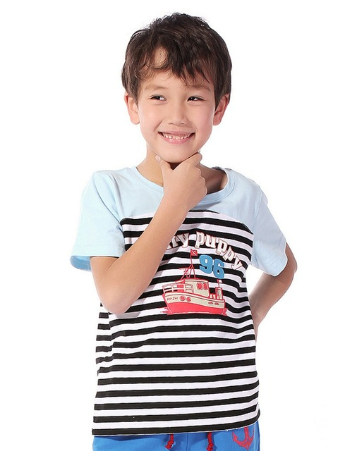2013 Freeshipping summer  blue white yellow short sleeve Children Child boy Kids baby cotton T shirt clothes clothing PFXZ01P67