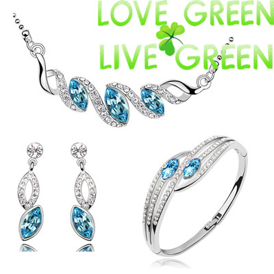 fashion brand bridal wedding horse eye 18K white Gold Plated water drop pendant necklace earrings bracelet jewelry sets 80030 - Love Green Live Green--fashion Jewelry store