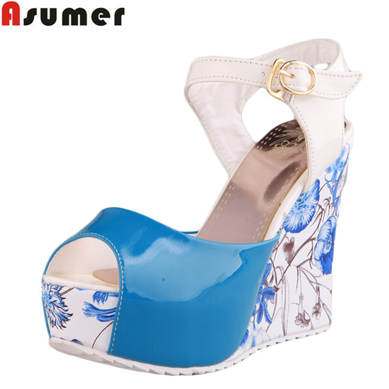 Гаджет  big size 34-41 HOT 2014 summer new fashion women sandals wedges shoes High Heel Sandals platform open toe buckle casual shoes None Обувь