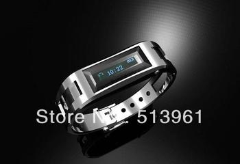 Motile Metal Vibrating Bluetooth Bracelet and Watch  with OLED caller's ID display for mobile phone BW10  Free shipping