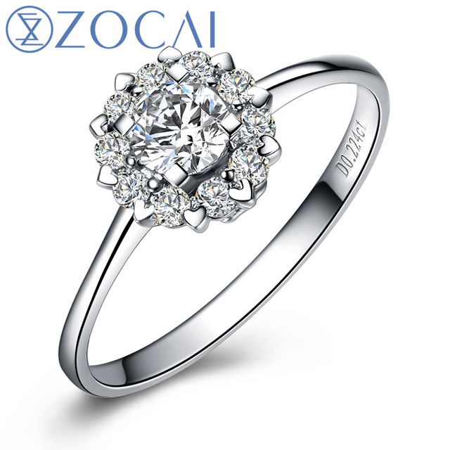"ZOCAI Drown In Love "" 1.5 Carat Diameter Effect "" 0.21 CT Certified Real Diamond Engagement Ring 18K White Gold (Au750) W02967"