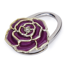 JHO-Folding Handbag/Purse/Bag Hanger Table Hook Hang Holder Rose Flower Shape purple(China (Mainland))
