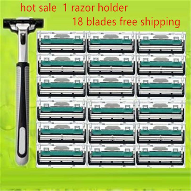 19 in 1 Men Shaving Razor Set 1 Razor Holder & 18 Razor Blades Double 2 Blades for Men Shaving Shaver Standard Safe Trimmer