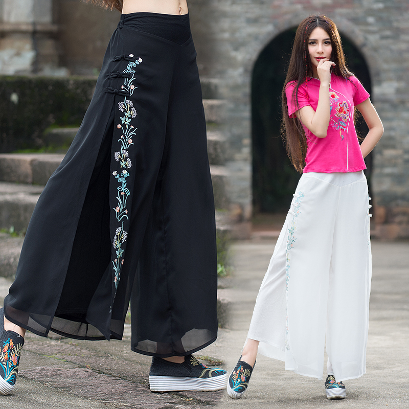 Femme pantalones mujer trousers women autumn spring bohemian hippie ethnic loose white black embroidery wide leg pant