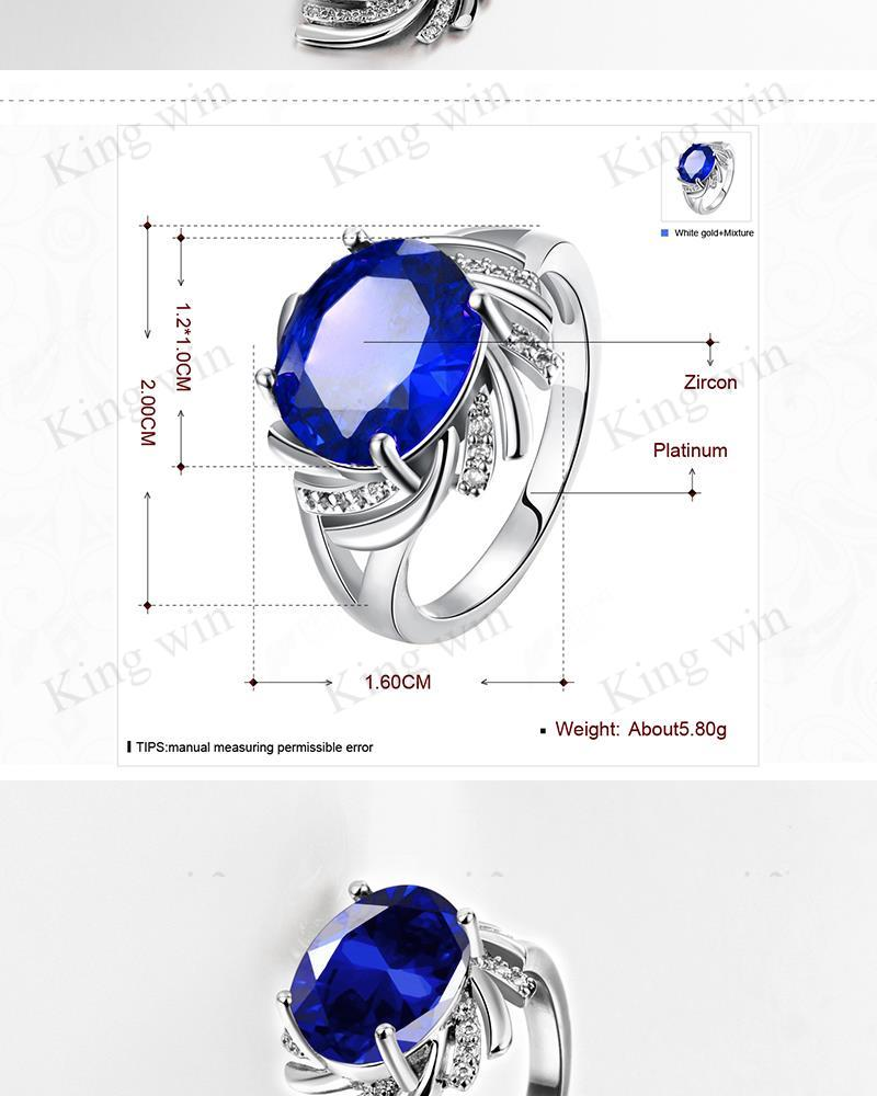 Fashion 18K fine white gold plated semi-precious synthetic sapphire blue cz diamond women jewelry sets wholesale free shipping