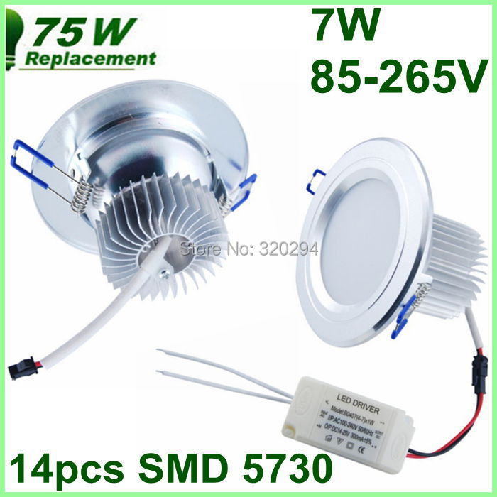 7W 800LM AC85-265V LED Ceiling Light Driver Warm/Cool White Led Downlight Lamp Bulb Luz de techo teto - Excellent Etop Shopping store