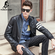 Pioneer Camp 2016 New brand men Leather Jacket top quality fashion casual motorcycle male leather coat fashion cool 677172(China (Mainland))