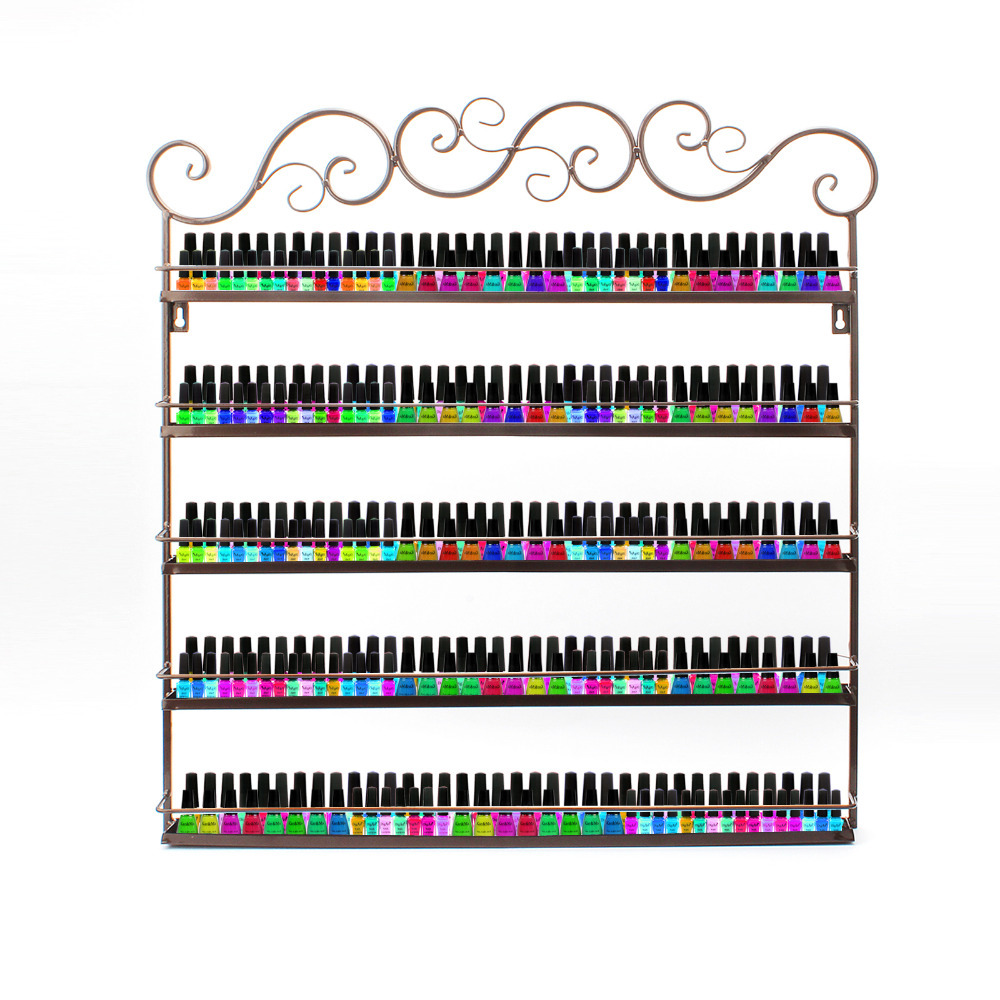 Nail Polish Mountable Display Metal Wire Organiser Wall Shelf Show Stand Holder Bronze 5 Tiers-up to 50 bottles,Free US Ship(China (Mainland))
