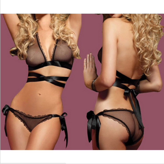 High Quality Fashion 2pc Sexy Lingerie Lace Net Babydolls Erotic Lingerie Sexy Underwear Thongs uniform lingerie(China (Mainland))