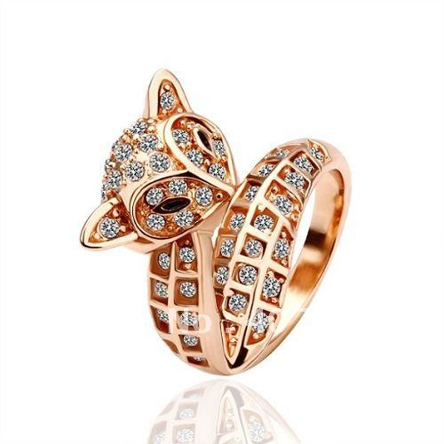 r026 wholesale fashion jewelry 18k gold plated fox ring