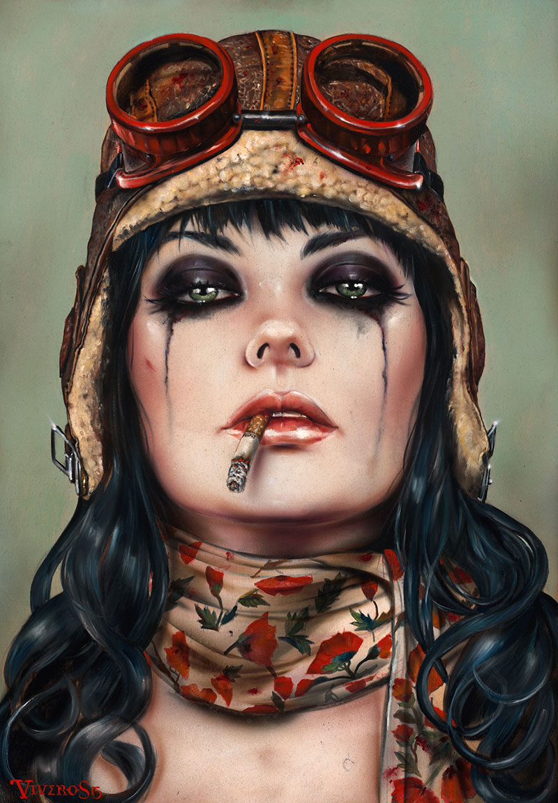 Handmade Reproduction oil paintings Red Sexy Figure pictures the decoration for the house by Brian M Viveros(China (Mainland))