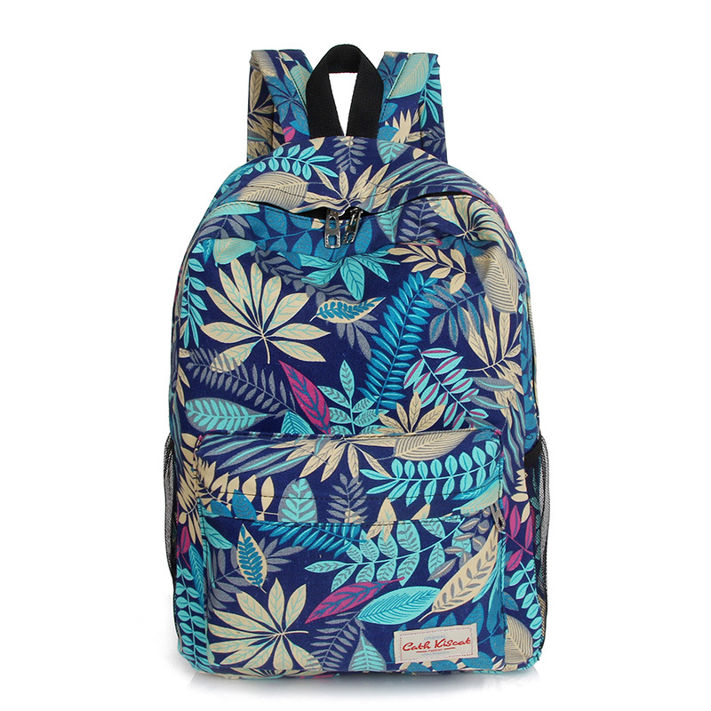 New 2016 fashion printing canvas backpack Leaves flowers skateboard backpack preppy style schoolbag women travel shoulder bag(China (Mainland))