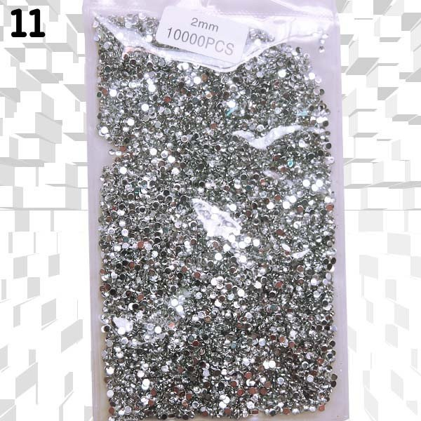 2.0mm 14 Different Colours Available, Round Shape, Nail Art Glitter Rhinestone, 10000pcs/Pack 3D Nail Art Decorations