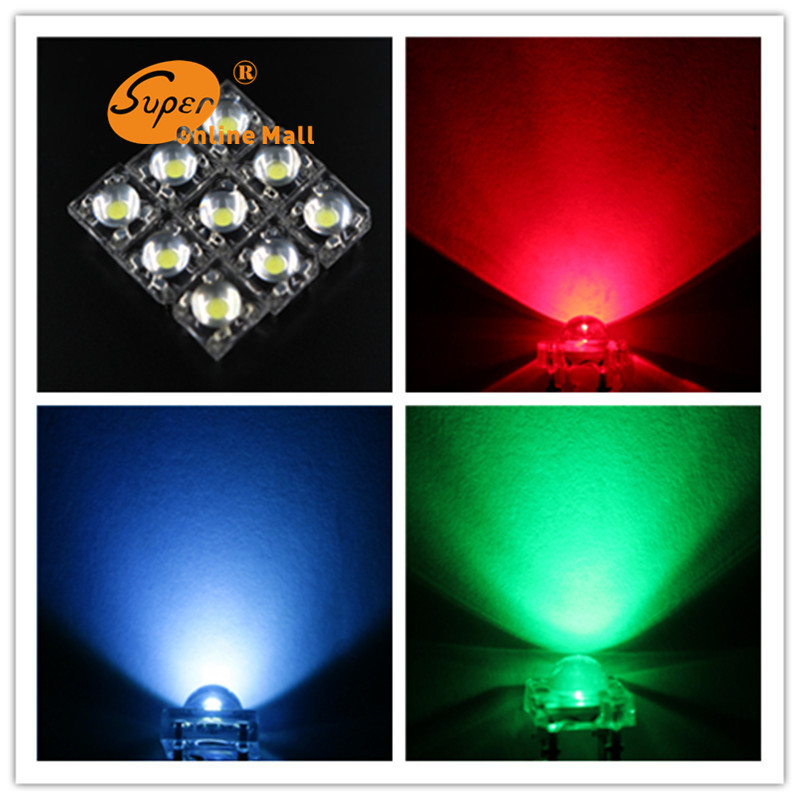 100pcs/lots LED 5mm RGB Piranha Super Flux COMMON Anode RED/BLUE/GREEN Dome water Clear LEDs Car Light 4 Pin Dome Wide Angle(China (Mainland))