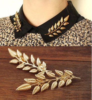 Wholesale 2016 Women's Fashion Brooches Leaves Collar Buttons Gold Plated Pin Up Collar Shirt Accessories Jewelry(China (Mainland))