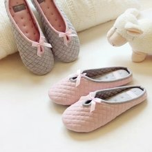 Cute Bowtie Winter Women Home Slippers For Indoor Bedroom House Soft Bottom Cotton Warm Shoes Adult Guests Flats Christmas Gift(China (Mainland))