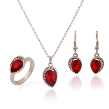 Pop Fashion 3 Color Created Diamond Crystal  Platinum Plated Jewelry Set Pendant Necklace Ring Earrings Wedding Accessories(China (Mainland))