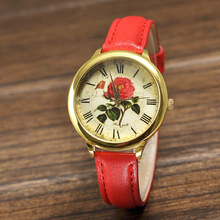 Nuevo estilo de ginebra Vintage mujeres romanos del reloj elegante jardín de flores moda Casual reloj caliente de moda relógio correa reloj de pulsera reloj