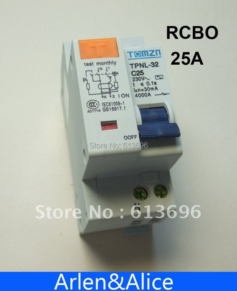 DPNL 1P+N 25A 230V~ 50HZ/60HZ Residual current Circuit breaker with over current protection RCBO<br><br>Aliexpress