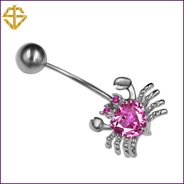 SI 3A SWA pink zircon Rhinestone Crab Piercing Navel Belly Button Rings Sexy Body Jewelry Gothic Perfumes Women Personality(China (Mainland))