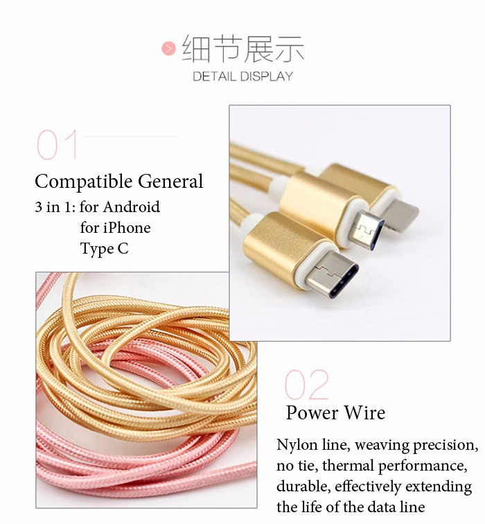 1pc 3 In 1 Nylon  Braided Fabric Fast Charger Usb Data Cable Cords For iPhone/Android/Type C, Phone Charging Micro Type-C Wire