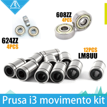 Free shipping! 12 x LM8UU & 4 x 608ZZ & 4x 624ZZ Bearing Kit Prusa i3 Rework RepRap 3D Printer