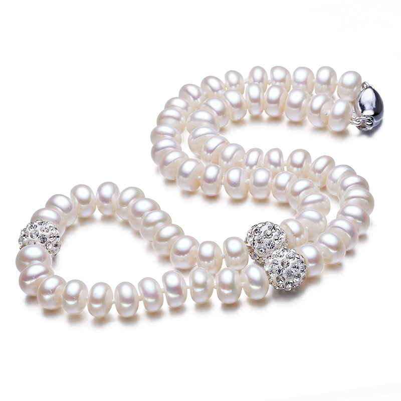 2016 Fashion Natural Freshwater Necklace 8-9mm Pearls Jewelry Crystal Ball Real Silver Jewelry 45cm length For Women Best Gifts(China (Mainland))