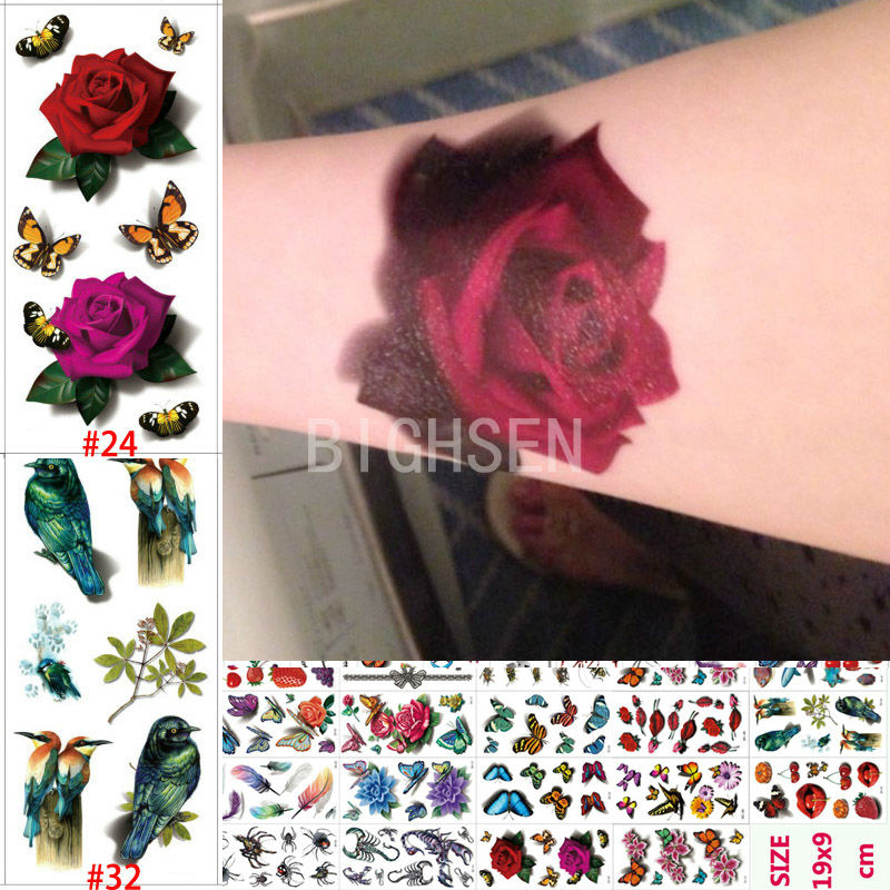 Cool 190x90mm Tattoo Body Paint Tattoos 3D Waterproof Sticker Snail Tattoos Spider fish Flower Fruit Pictures Body Art B3DLOT3(China (Mainland))