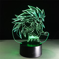 Figurines Dragon ball z super saiyan 3 goku 3d table lamp 2016 New 7 color changing