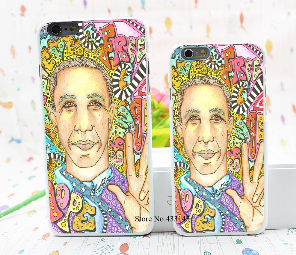 obama for peace singleton hippie art Style Hard White Cover Skin Back Case for iPhone 6 6s 6 plus(China (Mainland))