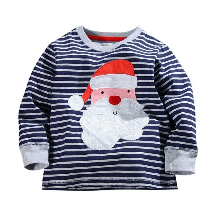 wholesale 2016 little maven baby long sleeve christmas t shirt boys striped sant tops girls animal cotton polos for 1 7t 47styles funny boys t shirts - Christmas Shirts For Boys