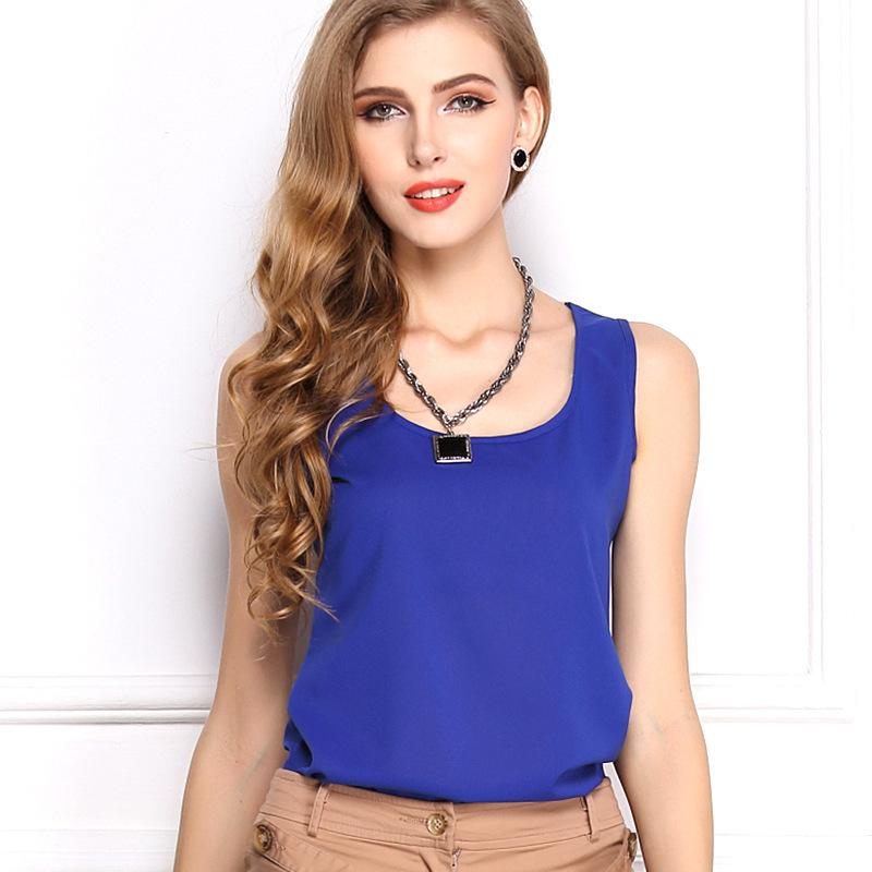 Summer style 2015 women tank tops Brand quality women chiffon sleeveless tshirt LIVA GIRL female shirt blouse blusas femininas