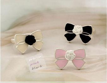 Han edition Korean bow ring flower ring