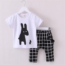 Summer Boys Clothes 2016 New Baby Boy Clothing Set Pattern Rabbit Toddler Boys Clothing Plaid Kids Clothes Children Clothing Set(China (Mainland))