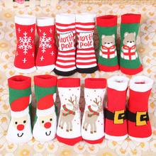 Christmas Themed Children Pure Cotton Cartoon Jacquard Socks Red Christmas Baby Socks Absorb Sweat Permeability Socks (one Size)