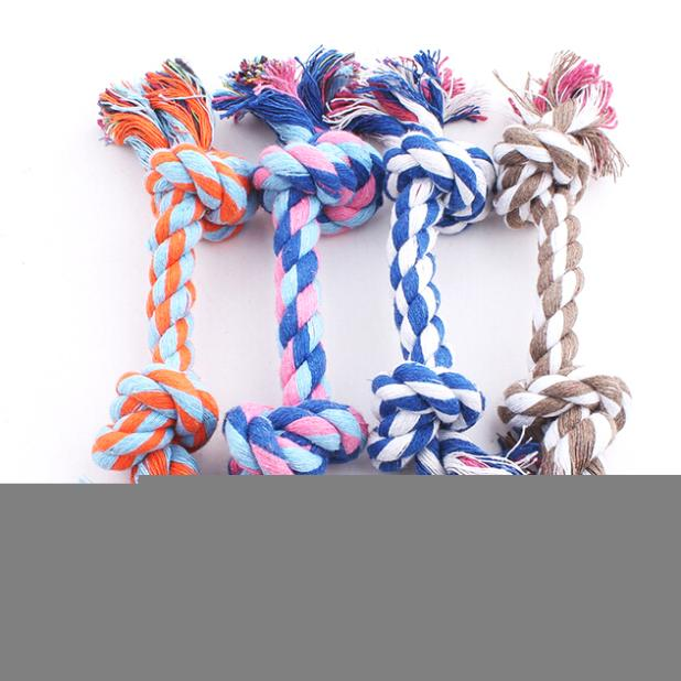New hot sell Puppy Dog Pet Toy Cotton Braided Bone Rope Double knot cotton rope trumpet