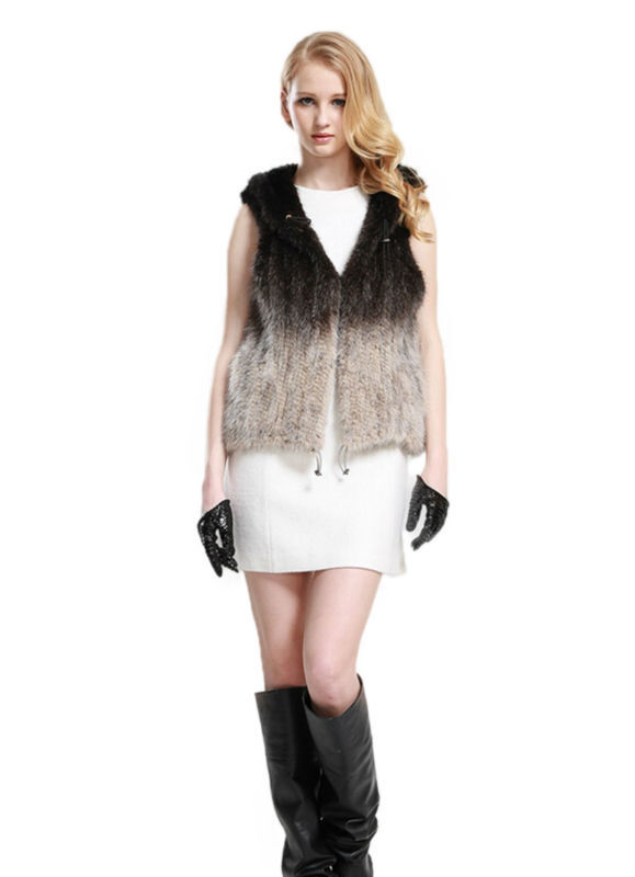Fashion Womens Genuine Knitted Mink Fur Slim Vests Lady Casual Gradient Waistcoat Express Shipping LX00482Одежда и ак�е��уары<br><br><br>Aliexpress