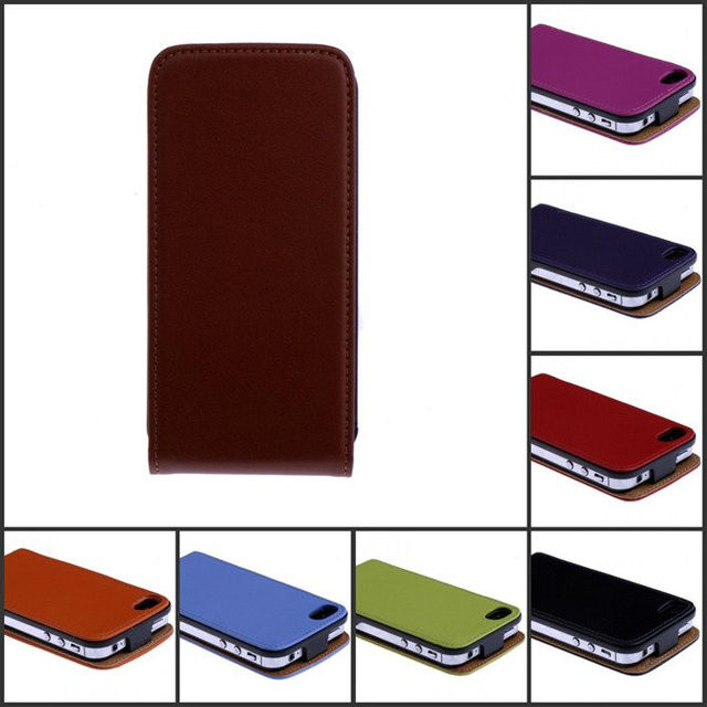 Free Shipping Retail Luxury For iPhone4 Case Genuine Flip Leather Cover For iPhone 4S 4 Cell Phone Accessories