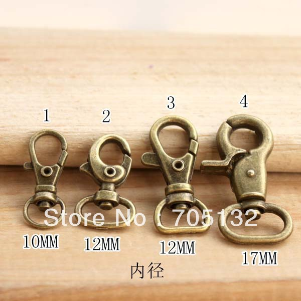 Free shipping 17mm 20pcs antique brass Metal purse buckles,Swivel bolt snaps, handbag hooks lobster clasp Design No.4(China (Mainland))
