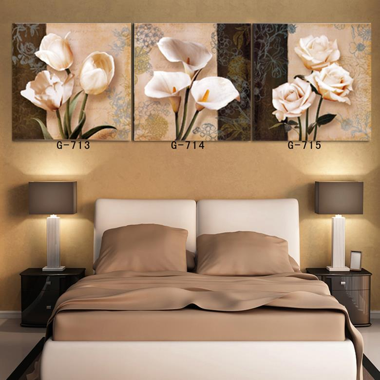 Top Fashion 3 Style Flowers Design Wall Pictures For Living Room 3 Pcs Home Decor Oil Painting Unframed Wall Art Canvas Painting(China (Mainland))