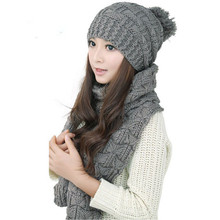 1Set Echarpes Foulards Femme Women Warm Hat Female Winter Woolen Knit Hood Fashion Scarf & Hats Sets(China (Mainland))