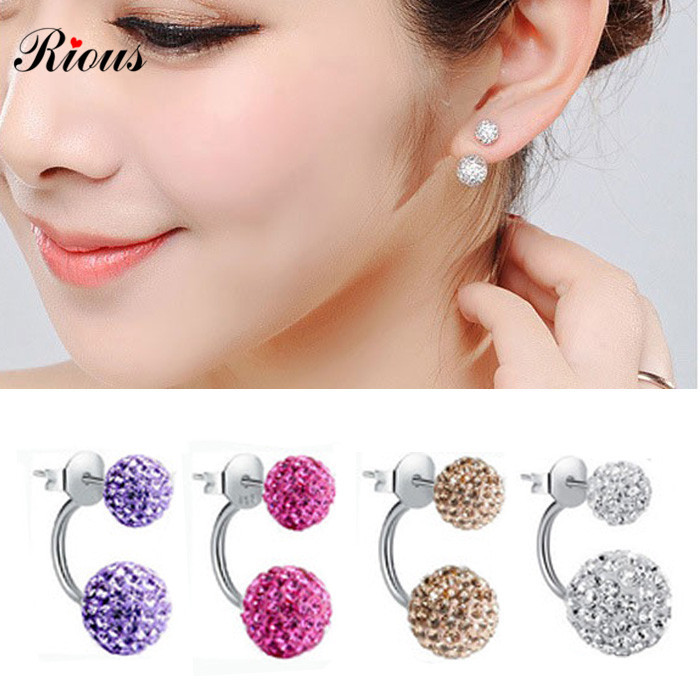 2015 New Beautiful Double Side Earrings,Fashion Crystal Disco Ball Shamballa bead Stud Earrings For Women stainless steel(China (Mainland))