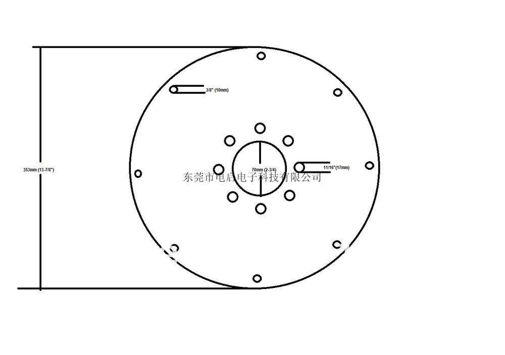 external diameter (14)  intenal diameter (2-3/4)<br><br>Aliexpress