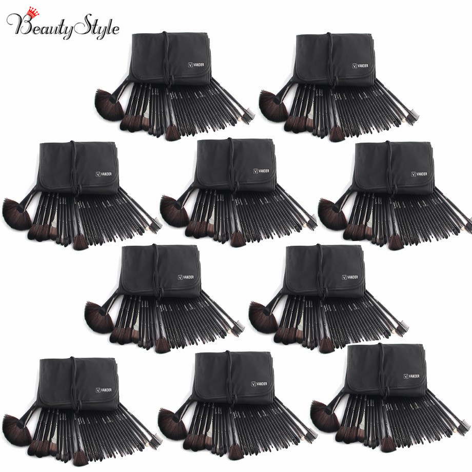 (Wholesale) Classic Black 10 Sets / 32pc Makeup Brushes Foundation Powder Pinceaux Maquillage Cosmetics + Pouch Bag Professional(China (Mainland))