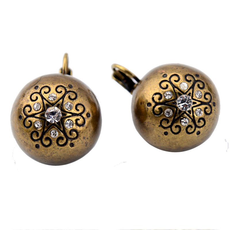 Pendientes Antique Jewelry Gold/Silver Plated Round-shapes Carved Pattern Crystal Vintage Statement Dangle Earrings For Women(China (Mainland))