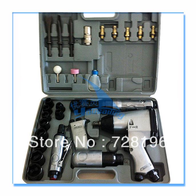 34PCS air/pneumatic rachet impact wrench air impact shovel air die grinder air/pneumatic tools kit(China (Mainland))
